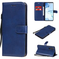 Retro Greek Classic Smooth PU Leather Wallet Phone Case for Oppo Reno 3 Pro 5G - Blue