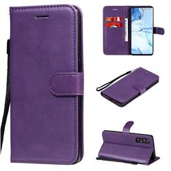 Retro Greek Classic Smooth PU Leather Wallet Phone Case for Oppo Reno 3 Pro 5G - Purple