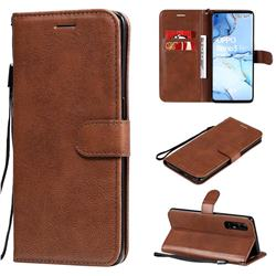 Retro Greek Classic Smooth PU Leather Wallet Phone Case for Oppo Reno 3 Pro 5G - Brown