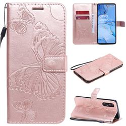 Embossing 3D Butterfly Leather Wallet Case for Oppo Reno 3 Pro 5G - Rose Gold