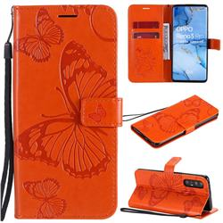 Embossing 3D Butterfly Leather Wallet Case for Oppo Reno 3 Pro 5G - Orange