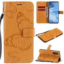 Embossing 3D Butterfly Leather Wallet Case for Oppo Reno 3 Pro 5G - Yellow