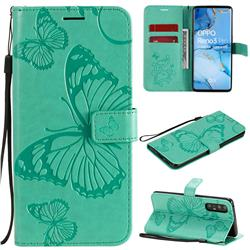 Embossing 3D Butterfly Leather Wallet Case for Oppo Reno 3 Pro 5G - Green