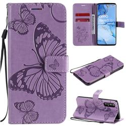 Embossing 3D Butterfly Leather Wallet Case for Oppo Reno 3 Pro 5G - Purple