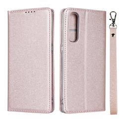 Ultra Slim Magnetic Automatic Suction Silk Lanyard Leather Flip Cover for Oppo Reno 3 Pro 5G - Rose Gold