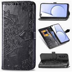 Embossing Imprint Mandala Flower Leather Wallet Case for Oppo Realme X50 Pro 5G - Black
