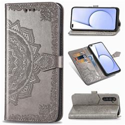 Embossing Imprint Mandala Flower Leather Wallet Case for Oppo Realme X50 Pro 5G - Gray