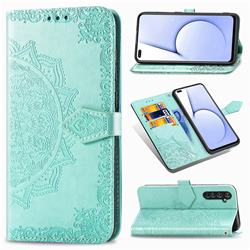 Embossing Imprint Mandala Flower Leather Wallet Case for Oppo Realme X50 Pro 5G - Green