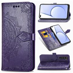 Embossing Imprint Mandala Flower Leather Wallet Case for Oppo Realme X50 Pro 5G - Purple