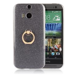 Luxury Soft TPU Glitter Back Ring Cover with 360 Rotate Finger Holder Buckle for HTC One M8 - Black