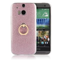 Luxury Soft TPU Glitter Back Ring Cover with 360 Rotate Finger Holder Buckle for HTC One M8 - Pink