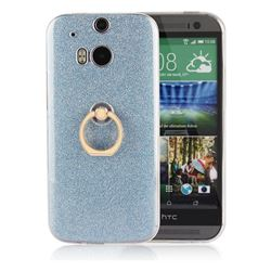 Luxury Soft TPU Glitter Back Ring Cover with 360 Rotate Finger Holder Buckle for HTC One M8 - Blue
