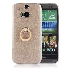 Luxury Soft TPU Glitter Back Ring Cover with 360 Rotate Finger Holder Buckle for HTC One M8 - Golden