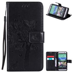 Embossing Butterfly Tree Leather Wallet Case for HTC One M8 - Black