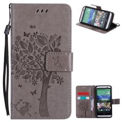 Embossing Butterfly Tree Leather Wallet Case for HTC One M8 - Grey