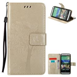 Embossing Butterfly Tree Leather Wallet Case for HTC One M8 - Champagne
