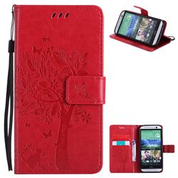 Embossing Butterfly Tree Leather Wallet Case for HTC One M8 - Red