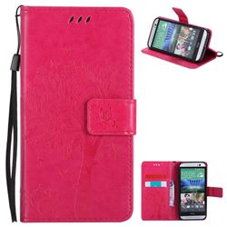 Embossing Butterfly Tree Leather Wallet Case for HTC One M8 - Rose