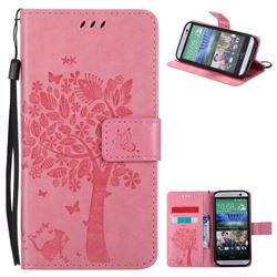 Embossing Butterfly Tree Leather Wallet Case for HTC One M8 - Pink