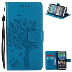 Embossing Butterfly Tree Leather Wallet Case for HTC One M8 - Blue