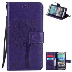 Embossing Butterfly Tree Leather Wallet Case for HTC One M8 - Purple