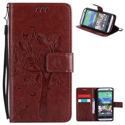 Embossing Butterfly Tree Leather Wallet Case for HTC One M8 - Brown