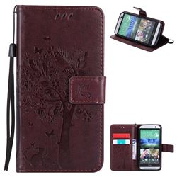 Embossing Butterfly Tree Leather Wallet Case for HTC One M8 - Coffee