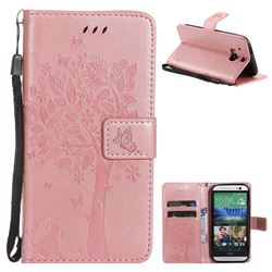 Embossing Butterfly Tree Leather Wallet Case for HTC One M8 - Rose Pink
