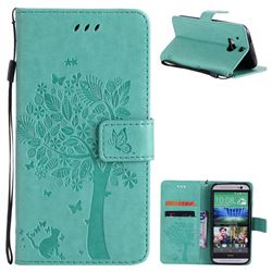 Embossing Butterfly Tree Leather Wallet Case for HTC One M8 - Cyan