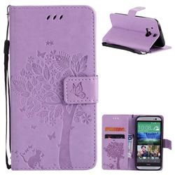 Embossing Butterfly Tree Leather Wallet Case for HTC One M8 - Violet