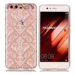 White Lace Flowers Super Clear Soft TPU Back Cover for Huawei P10
