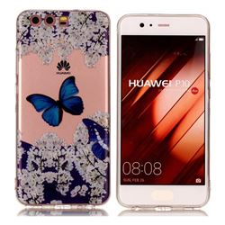 Blue Butterfly Flower Super Clear Soft TPU Back Cover for Huawei P10