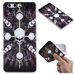 Compass Skulls 3D Relief Matte Soft TPU Back Cover for Huawei P10