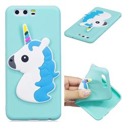 Blue Hair Unicorn Soft 3D Silicone Case for Huawei P10