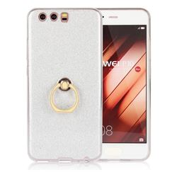 Luxury Soft TPU Glitter Back Ring Cover with 360 Rotate Finger Holder Buckle for Huawei P10 - White