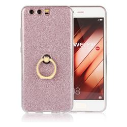 Luxury Soft TPU Glitter Back Ring Cover with 360 Rotate Finger Holder Buckle for Huawei P10 - Pink