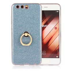 Luxury Soft TPU Glitter Back Ring Cover with 360 Rotate Finger Holder Buckle for Huawei P10 - Blue