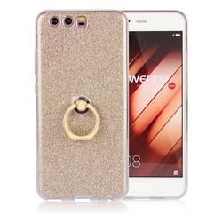 Luxury Soft TPU Glitter Back Ring Cover with 360 Rotate Finger Holder Buckle for Huawei P10 - Golden