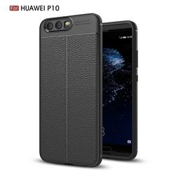 Luxury Auto Focus Litchi Texture Silicone TPU Back Cover for Huawei P10 - Black