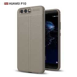 Luxury Auto Focus Litchi Texture Silicone TPU Back Cover for Huawei P10 - Gray
