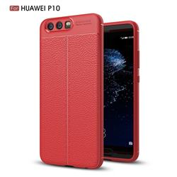 Luxury Auto Focus Litchi Texture Silicone TPU Back Cover for Huawei P10 - Red