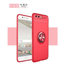 Auto Focus Invisible Ring Holder Soft Phone Case for Huawei P10 - Red