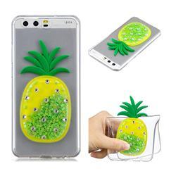 Green Pineapple Liquid Quicksand Soft 3D Cartoon Case for Huawei P10