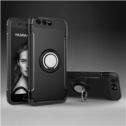 Armor Anti Drop Carbon PC + Silicon Invisible Ring Holder Phone Case for Huawei P10 - Black