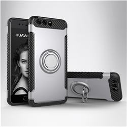 Armor Anti Drop Carbon PC + Silicon Invisible Ring Holder Phone Case for Huawei P10 - Silver