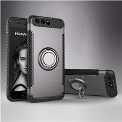 Armor Anti Drop Carbon PC + Silicon Invisible Ring Holder Phone Case for Huawei P10 - Grey
