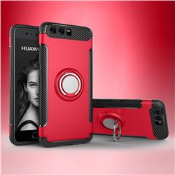 Armor Anti Drop Carbon PC + Silicon Invisible Ring Holder Phone Case for Huawei P10 - Red