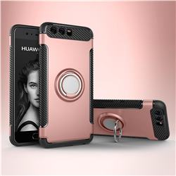 Armor Anti Drop Carbon PC + Silicon Invisible Ring Holder Phone Case for Huawei P10 - Rose Gold