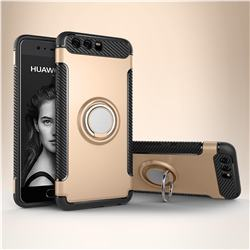 Armor Anti Drop Carbon PC + Silicon Invisible Ring Holder Phone Case for Huawei P10 - Champagne
