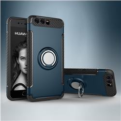 Armor Anti Drop Carbon PC + Silicon Invisible Ring Holder Phone Case for Huawei P10 - Navy